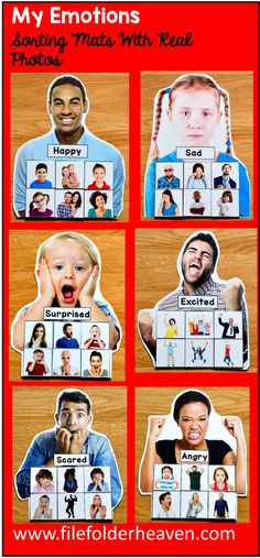 These Identifying Emotions Activities: Sorting Emotions With Real Photos include 6 unique sorting mats that focus on identifying emotions. Repinned by SOS Inc. Resources pinterest.com/sostherapy/