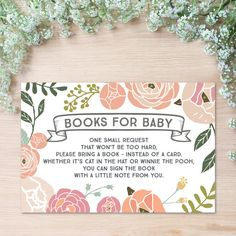 Please Bring A Book Instead of A Card - Books for Baby Insert https://www.etsy.com/listing/248373517/instant-download-vintage-rose-baby?ref=shop_home_active_4