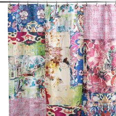 The Leandre shower curtain shows off classic Tracy Porter design with this bold, colorful, lively print shower curtain. Tracy Porter, Cozy Cottage, Cottage Style, Textiles, Sewing Studio, Wild Hearts, Home Decor Furniture, Color Splash, Color Patterns