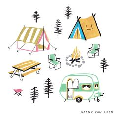 A little campsite for The Big Book of Drawing by Flow Magazine - Sanny van Loon • Illustration | www.sannyvanloon.com