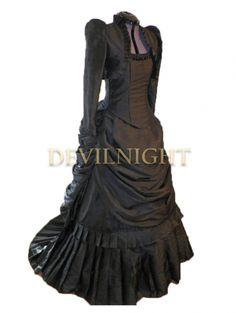 Noir gothique victorien Bustle robe avec manches longues veste courte Dvictorian