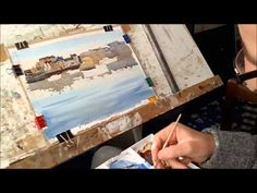 ▶ Watercolour painting for beginners, boats, buildings , skies, Cornish harbours, cornwall - YouTube