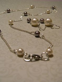 Swarovski Ivory and Mauve Pearl Necklace and Earring by Meant2Bead, $36.00