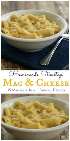 Make this Homemade Stovetop Mac and Cheese in 15 minutes or less (for real!). The sauce is freezer friendly too! | Recipe at MealPlanningMagic.com