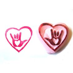 Sign Language I Love You With Heart Hand Carved Rubber Stamp - ASL