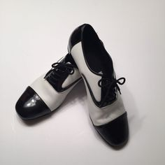 Men's Dance Shoes 10.5 Black White Ballroom Very Fine #VeryFine
