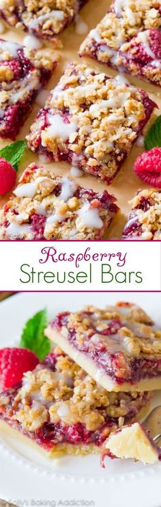 Simple raspberry streusel bars with four incredible layers: a buttery shortbread crust, thick raspberry filling, brown sugar streusel, and a drizzle of sweet vanilla glaze.