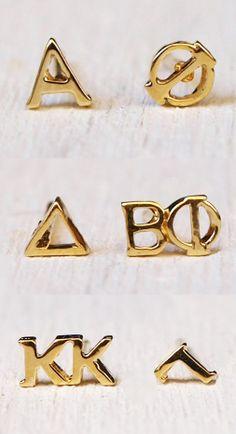 Greek letter earrings