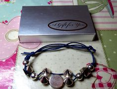 handmade unique unusual mens/ladies SPIKY BRACELET blue leather silver gift box