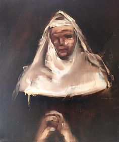 """""""Come Pensive nun, devout and pure"""" Oil on Polyester Nicole Pletts Contemporary Paintings, Art Day, Cotton Linen, New Work, Nun, Mona Lisa, Art Gallery, Fine Art, Pure Products"""