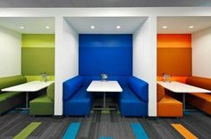 Lovely collaboration space. Pop of color with carpet tile and sound absorbing…