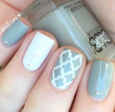 Perfection in a manicure by @melcisme using our Moroccan Nail Stencils found at snailvinyls.com
