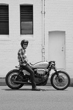 "A stylish Harley Davidson V Twin 1200 ""Cafe Racer"" from Sydney's Deus Ex Machina."
