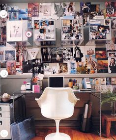 Do this on my wall in my office with photos of families, events, postcards, branding, etc. - via Domino Magazine