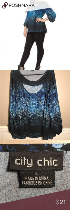 City Chic Blouse Ombré Print Long sleeve City Chic Blouse, gathers at wrist! Cool cutout neckline!! Great sparrow Print! Excellent Used Condition EUC no trades City Chic Tops Blouses