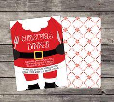 Printed Christmas Dinner Invitation with Santa