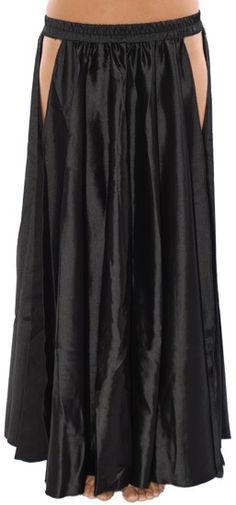 Satin Panel Circle Skirt for Belly Dancing - BLACK