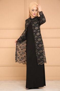 Hırka Görünümlü Tesettür Abiye SMT3002-S Zümrüt  Tesettür Hırka Modelleri 2020 Batik Fashion, Abaya Fashion, Muslim Fashion, Fashion Dresses, Dress Brokat Muslim, Hijab Evening Dress, Sleeves Designs For Dresses, Royal Dresses, Silk Midi Dress