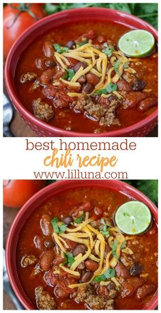 You're going to fall hard for this spicy and hearty homemade beef chili. This chili recipe is not only simple, but is flavorful and filled with ground beef, tomatoes, beans, spices and all the toppings making it an award winning chili recipe. Flavorful Chili Recipe, Beef Chili Recipe, Beef Soup Recipes, Chilli Recipes, Gourmet Recipes, Dinner Recipes, Healthy Recipes, Herb Recipes, Dinner Ideas