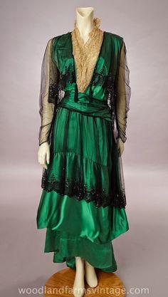 Teens Era, Poss. WWI, Green Evening Dress
