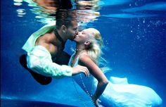 blue, couple, kiss, photography, underwater