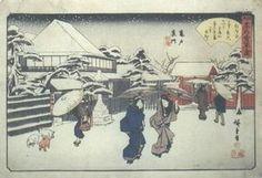hiroshige woodblock prints   Japanese Edo Woodblock Print Hiroshige Kameido Snow
