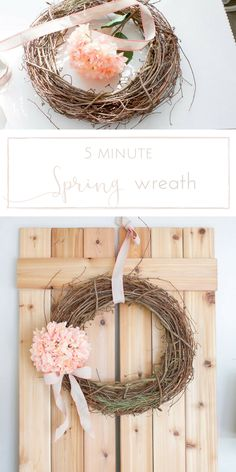 This Spring wreath is so simple to make, you can whip it up in just 5 Minutes!   www.makingitinthemountains.com