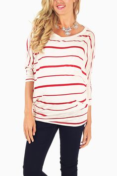 Red-Ivory-Striped-Dolman-Sleeve-Maternity-Top #maternity #fashion #cutematernityclothing #cutematernitytops #babyshoweroutfitideas #transitionalclothing