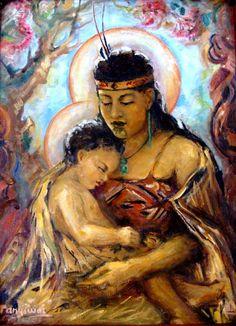 maori Madonna polynesian catholic art -whakapapa linkages to my blood and bones Madonna Und Kind, Madonna Art, Madonna And Child, Blessed Mother Mary, Divine Mother, Blessed Virgin Mary, Catholic Priest, Catholic Art, Religious Icons