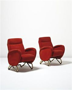 Pair of armchairs, from the RAI Auditorium, Turin by Carlo Mollino | Blouin Art Sales Index