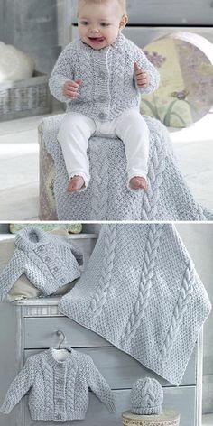 Cardigans, Blanket & Hat in King Cole Big Value Baby Chunky Crochet , Cardigans, Blanket & Hat in King Cole Big Value Baby Chunky Knitting Pattern for Baby Cardigan, Blanket and Hat Set Baby knitting.
