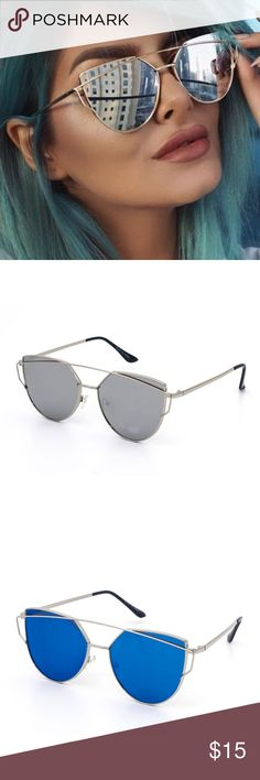 Mirror lens aviator *Trendy metal Style aviators with mirror tint lens and a bold brow bar  *Men's/Women's Style  *Polycarbonate Lens  *Impact-Resistant Lens  *UV400protection against ultra violet rays UVA & UVB. Accessories Glasses