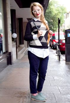 Monochrome, boyish tailoring and cool glasses Street Style: October 2013