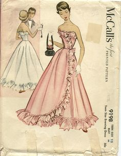 McCalls 9198 beautiful evening/prom dress pattern, 1952. #vintage #sewing #patterns #1950s