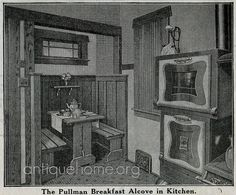 Breakfast Nook - Sears House - Kitchen. Sears kit home the Ashmore. Kitchen view with the stove and built-in breakfast nook from the Sears 1916 house plan book.    See the Sears Kit Homes from 1916, with floor plans.