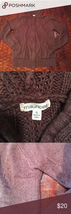 XL Maurices Knit Hoodie This XL Knitted hoodie from Maurices is in good condition. It has some pilling and minor fading. It's thick and warm, and a great classic piece you can wear for many years without it going out of style. Sadly, I live in the desert and it's not cold enough for me to need it anymore.  Comes from a smoke free/feline friendly home. Any Questions, just ask. Offers welcome. Tops Sweatshirts & Hoodies