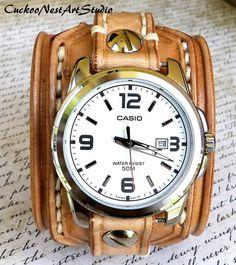 Leather Watch Cuff Men's watch Leather by CuckooNestArtStudio, $185.00