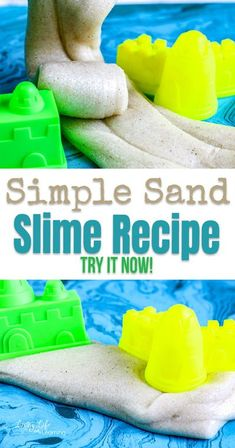 Bring the beach home with this super simple sand slime recipe. And combine science and fun for a great beach-themed activity for all ages!  #slime #slimerecipe #summerkidsactivity #livinglifeandlearning