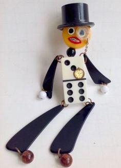 Bakelite Dapper Man or Charlie McCarthy in Top Hat Pin Brooch Bakelite, Vintage Plastics, Pins, Brooches | eBay