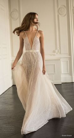 eisen stein 2018 bridal sleeveless thin strap deep v neck full embellishment romantic sexy soft a line wedding dress open back sweep train (4) mv