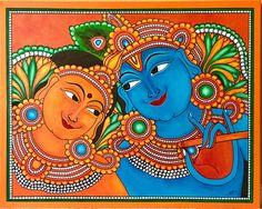 Rupa's art gallery, how-to videos Kerala Mural Painting, Krishna Painting, Madhubani Painting, Indian Art Paintings, Krishna Art, Kalamkari Painting, Krishna Radha, Lord Krishna, Canvas Painting Designs