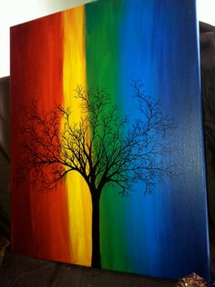Black tree on rainbow, maybe with a dreamcatcher instead