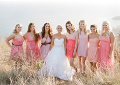 Another great example of great summer wedding colours, and love how each bridesmaid looks perfectly individual but they all work so well together.