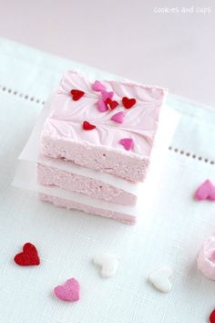 2 ingredient strawberry fudge - fudge made from canned frosting. Better than it sounds.
