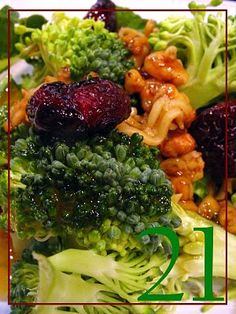 Broccoli Ramen Salad.  My favorite!  I substitute dried cranberries for the cherries and pecans for the walnuts.