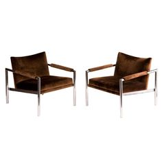 Pair of Grade Lounge Chairs by Milo Baughman | From a unique collection of antique and modern armchairs at http://www.1stdibs.com/furniture/seating/armchairs/