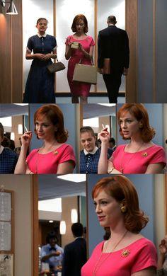 Love her pink dress! currently on a mad men binge on Netflix. ^-^