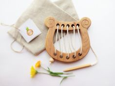 Wooden lacing toy Lyre Fine Motor Skills Learning toy Educational Wooden Toy Montessori Wood Toys for Kids