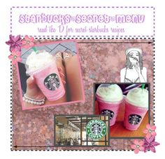"""❀Secret starbucks menu❀"" by xx-my-chemical-killjoy-xx ❤ liked on Polyvore featuring Cotton Candy, éS, white, Pink, starbucks and drinks"