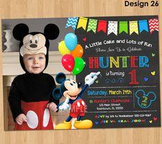 Mickey Mouse Pozvánka narozeniny - Mickey Mouse 1st Birthday První Bday Boy - Mickey Mouse Birthday Party Tabule Photo vyzývá k vytisknutí